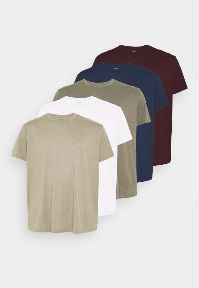 SHORT SLEEVE CREW 5 PACK - T-shirt basic - offwhite/indigo