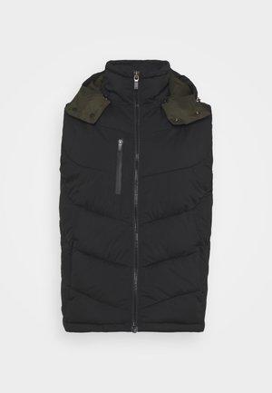 QUILTED HOODED BODYWARMER - Waistcoat - black
