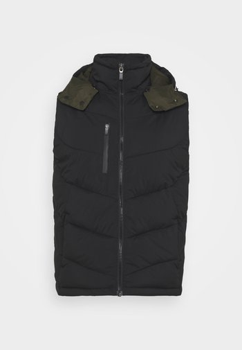 QUILTED HOODED BODYWARMER - Smanicato - black