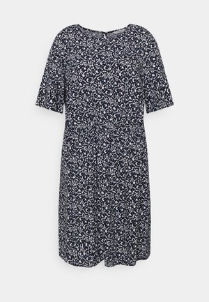 DRESS FEMININE BASIC - Denní šaty - navy flowers and dots