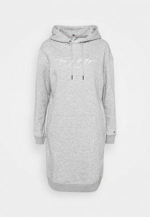 SCRIPT HOODIE DRESS - Day dress - light grey heather