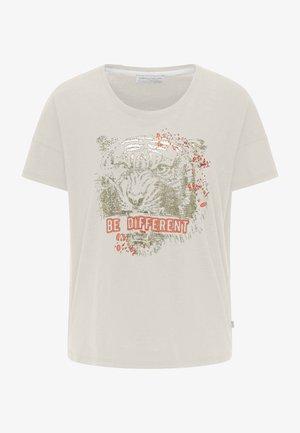 BAUMWOLLSHIRT MIT AUFFÄLLIGEM PRINT - Print T-shirt - off white