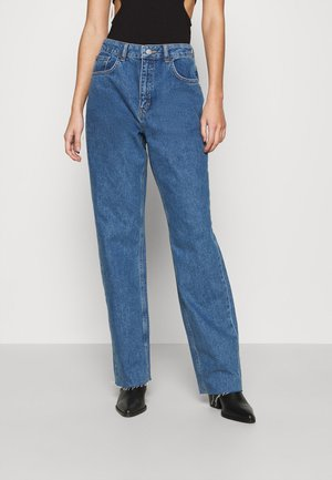 RAW HEM HIGH RISE  - Relaxed fit jeans - mid blue wash