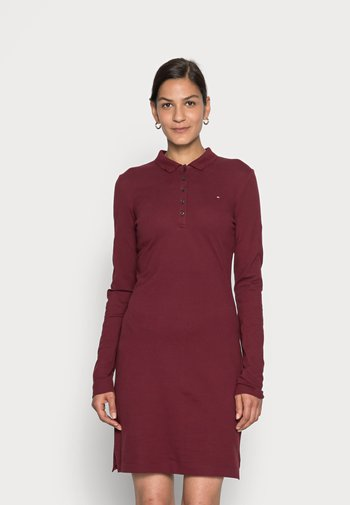 LONG SLEEVE SLIM DRESS - Denní šaty - deep rouge