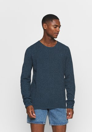 SLHROCKY CREW NECK - Strikkegenser - dark sapphire/twisted blue mirag