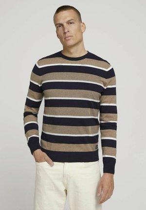 Jumper - navy white beige stripe