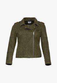 Sheego - Faux leather jacket - dunkelkhaki - 4