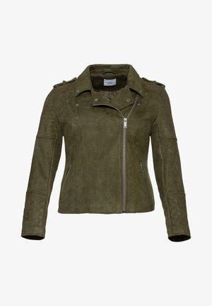 Faux leather jacket - dunkelkhaki