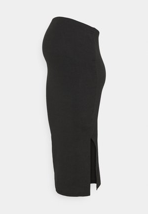 MATERNITY SIDE SPLIT MIDI SKIRT - Kynähame - black
