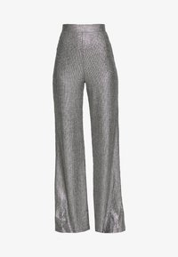 Club L London - TEXTURED SPARKLE HIGH WAIST TROUSERS - Trousers - silver - 3
