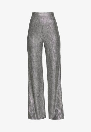 TEXTURED SPARKLE HIGH WAIST TROUSERS - Pantalones - silver