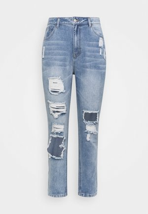 RIPPED DETAIL WASHED  - Relaxed fit jeans - blue