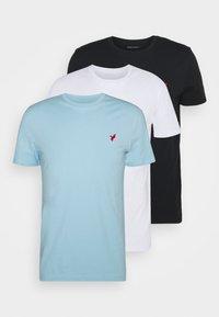 3 PACK - T-shirt basique - white/black/light blue