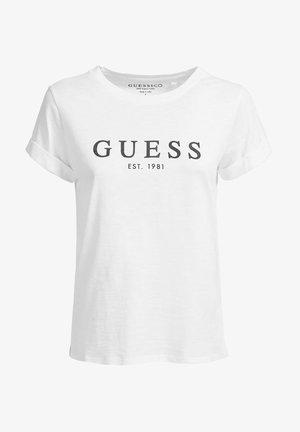 ROLL CUFF - Camiseta estampada - weiß