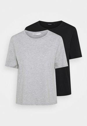 ONLONLY LIFE 2 PACK  - T-shirts med print - light grey melange/black