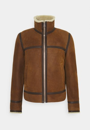 JACKET - Leather jacket - brown