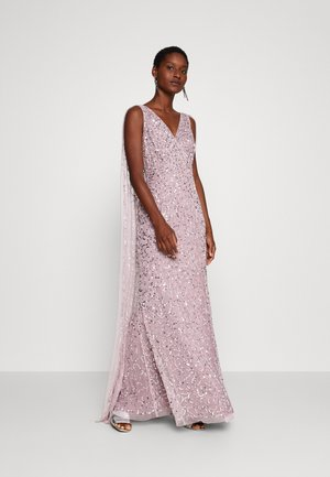 WRAP MAXI DRESS WITH CAPE DETAIL - Gallakjole - lilac