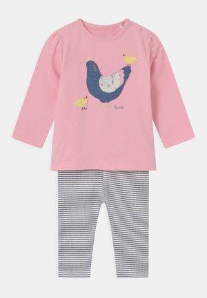 SET - Leggings - Trousers - light pink/dark blue