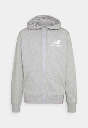 ESSENTIALS STACKED FULL ZIP HOODIE - Zip-up hoodie - athletic grey