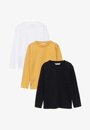3 PACK  - Long sleeved top - zwart/yellow/white