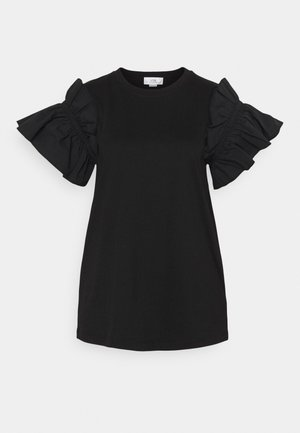 RUFFLE SHIRTING SLEEVE - Basic T-shirt - black