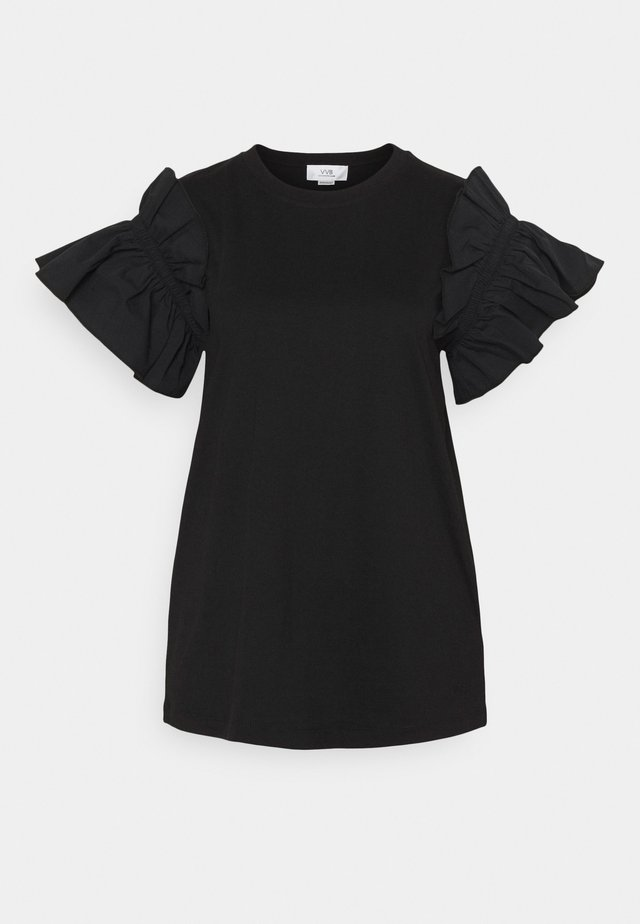 RUFFLE SHIRTING SLEEVE - Jednoduché triko - black