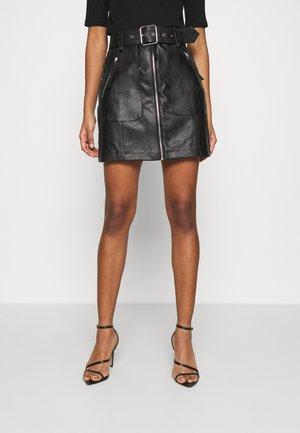 HARDWEAR ZIP BIKER SKIRT - A-line skirt - black