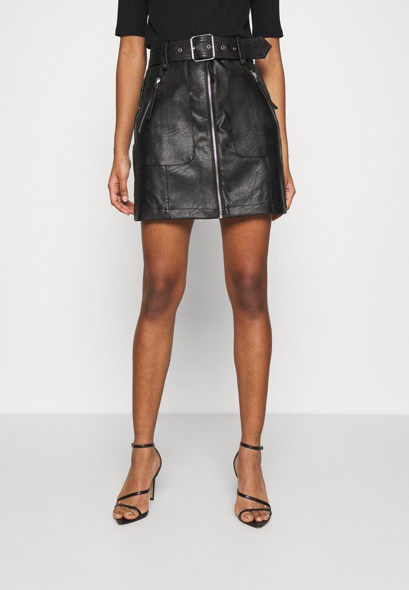 Topshop - HARDWEAR ZIP BIKER SKIRT - A-line skirt - black