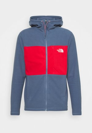BLOCKED HOODIE - Fleece jacket - teal/dark red