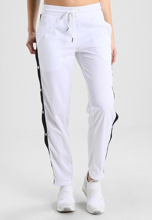 LADIES BUTTON UP TRACK PANTS - Tracksuit bottoms - white/black
