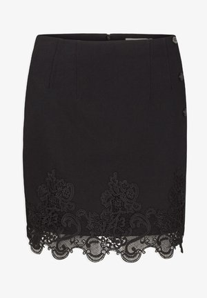 WITH LACE - Pencil skirt - black