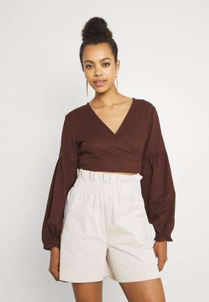 WRAP BALLOON - T-shirt à manches longues - chocolate