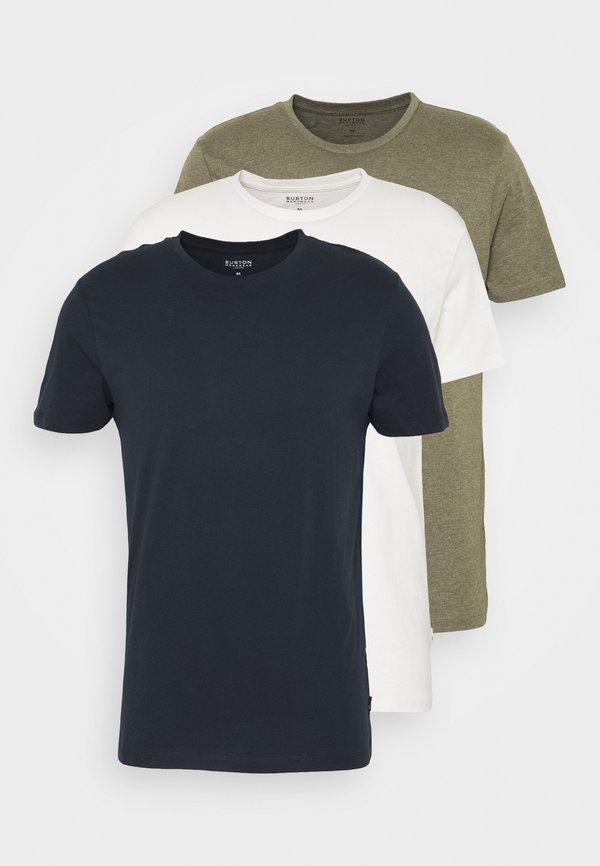Burton Menswear London SHORT SLEEVE CREW 3 PACK - T-shirt basic - off white/navy/dusty/mleczny Odzież Męska GFQQ