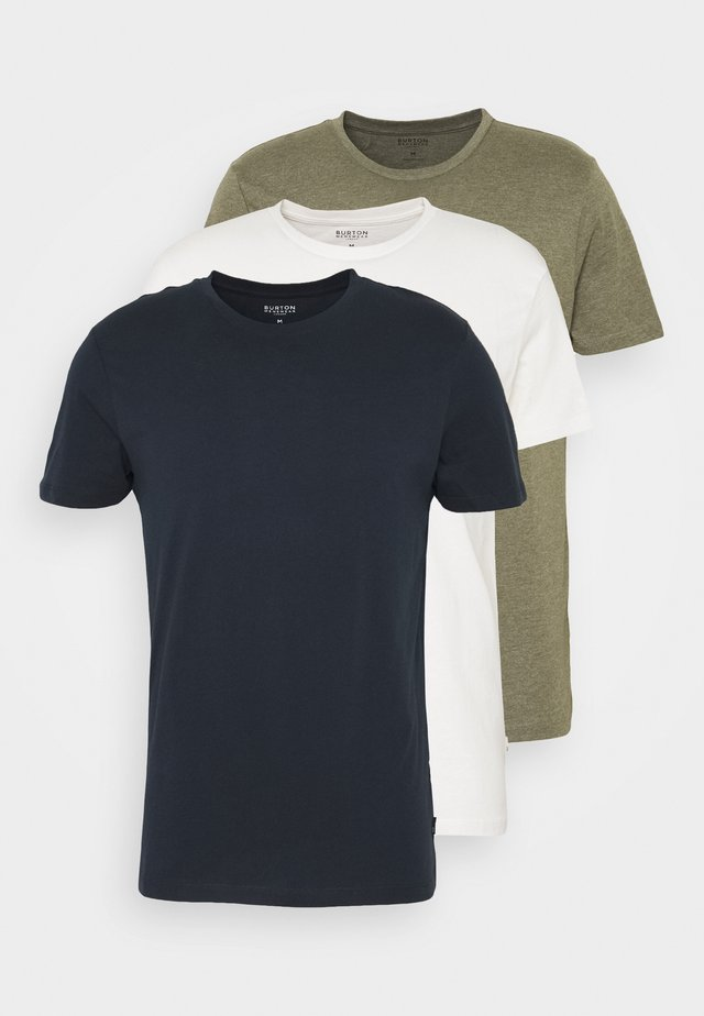 SHORT SLEEVE CREW 3 PACK - Basic T-shirt - off white/navy/dusty