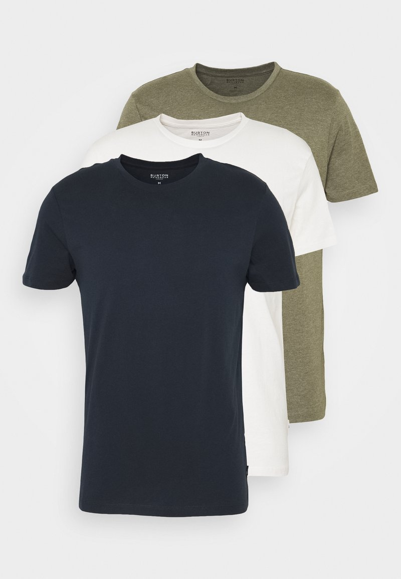 Burton Menswear London - SHORT SLEEVE CREW 3 PACK - Basic T-shirt - off white/navy/dusty