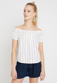 Vero Moda - VMANNA MILO OFF SHOULDER STRIPE - Blouse - snow white/night sky - 0