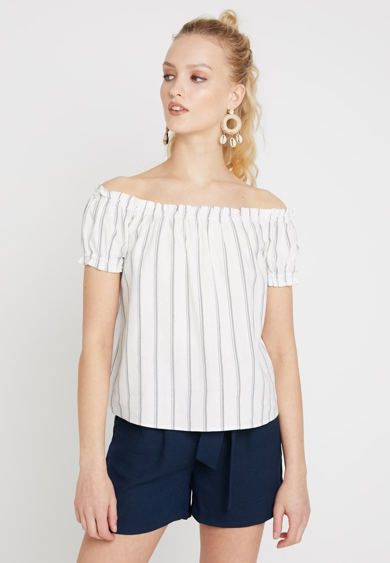 Vero Moda - VMANNA MILO OFF SHOULDER STRIPE - Blouse - snow white/night sky