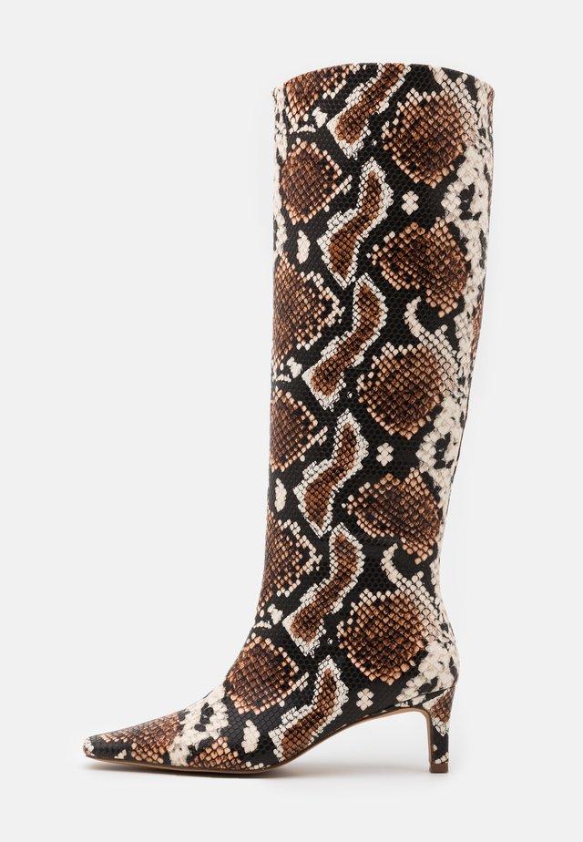 SQUARED LONG TOE SHAFT BOOTS - Kozaki - brown/multicolor
