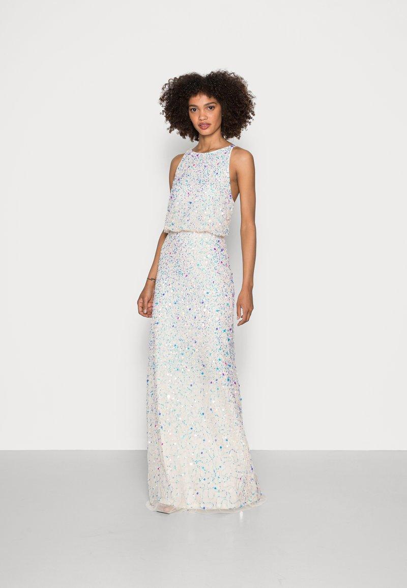 Maya Deluxe - ALL OVER EMBELLISHED HIGH NECK MAXI DRESS - Suknia balowa - ecru