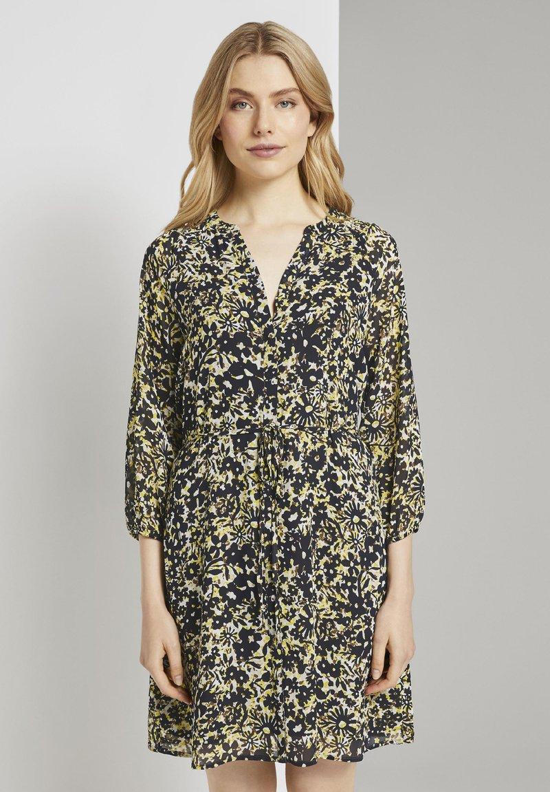TOM TAILOR - Robe chemise - yellow flower design