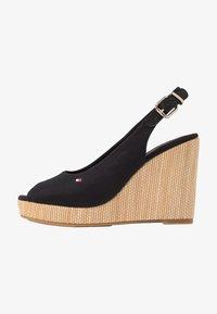 Tommy Hilfiger - ICONIC ELENA SLING BACK WEDGE - High heeled sandals - black - 1