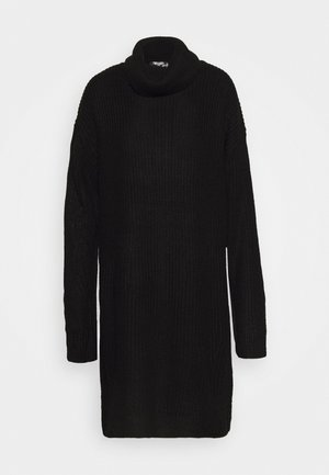 ROLL NECK BASIC DRESS - Vestido de punto - black