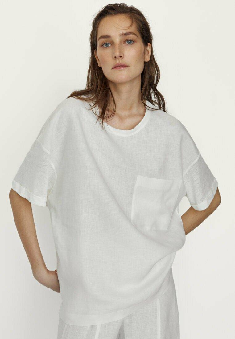 Massimo Dutti - MIT TASCHE  - T-shirt basique - white