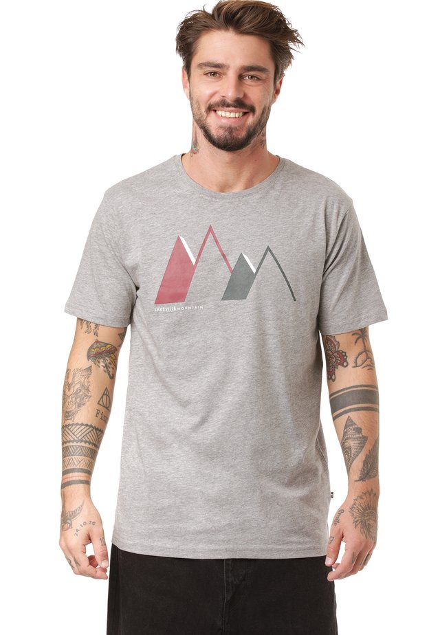 Print T-shirt - mid grey melange