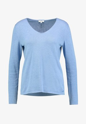 BASIC V NECK - Strickpullover - sea blue melange