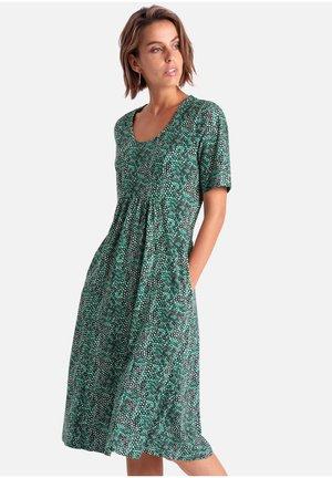 Jersey dress - ecru/smaragd/schwarz