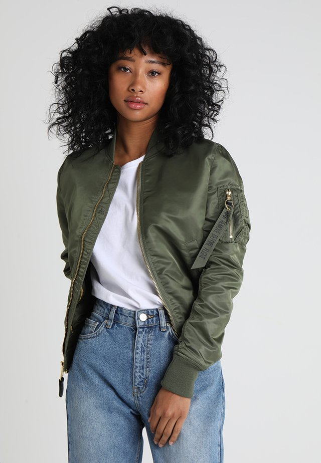 Bomber Jacket - sage green/gold