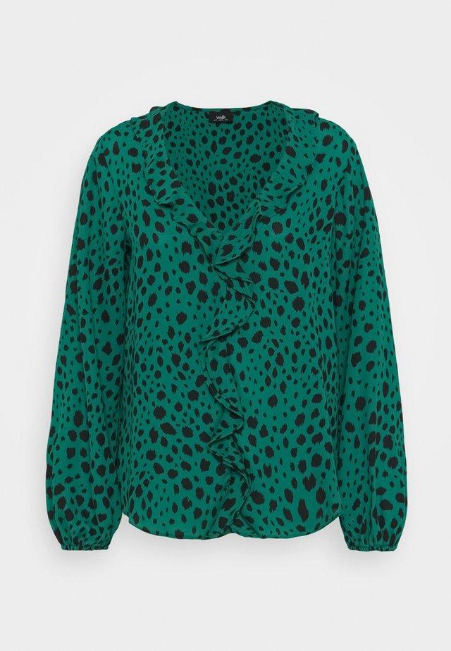 PEBBLE RUFFLE ANIMAL - Blouse - green