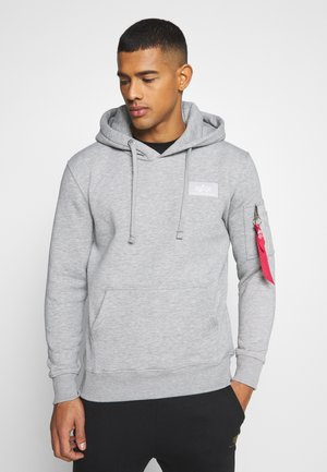 BACK PRINT HOODY FOIL PRINT - Luvtröja - grey heather/neon orange