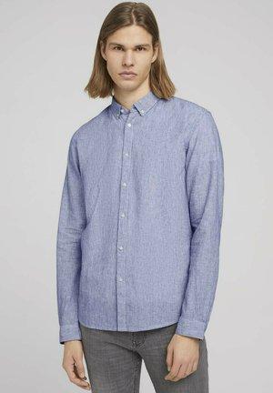 Shirt - navy white small stripe